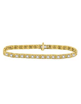 10kt Yellow Gold Womens Round Diamond Studded Tennis Bracelet 3/4 Cttw