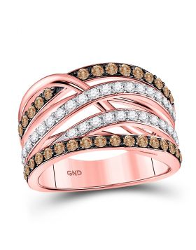 14kt Rose Gold Womens Round Brown Color Enhanced Diamond Crossover Strand Ring 1-1/3 Cttw