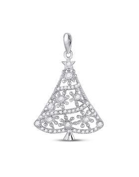 10kt White Gold Womens Round Diamond Christmas Tree Fashion Pendant 1/3 Cttw