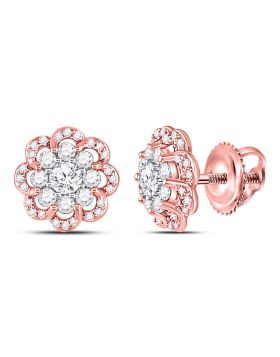 14kt Two-tone Gold Womens Round Diamond Flower Cluster Stud Earrings 1.00 Cttw