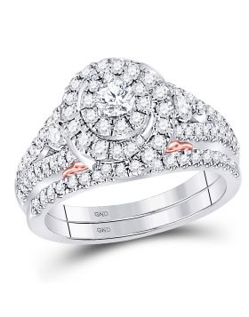 14kt Two-tone Gold Womens Round Diamond Bellissimo Bridal Wedding Engagement Ring Band Set 1-1/5 Cttw