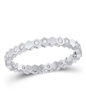 14kt White Gold Womens Round Diamond Jagged Edge Band Ring 1/5 Cttw