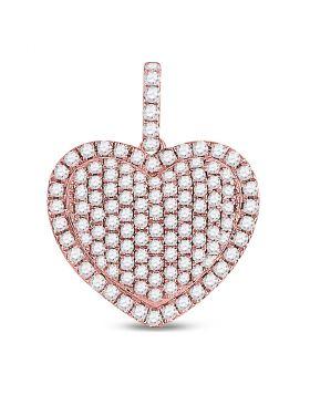 14kt Rose Gold Womens Round Diamond Heart Pendant 1-1/3 Cttw