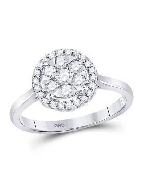 10kt White Gold Womens Round Diamond Circle Frame Flower Cluster Ring 1/2 Cttw