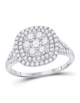 14kt White Gold Womens Round Diamond Square Frame Flower Cluster Ring 1.00 Cttw