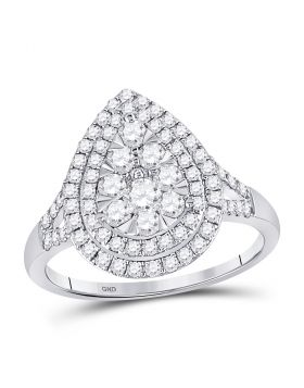 14kt White Gold Womens Round Diamond Teardrop Flower Cluster Ring 1.00 Cttw
