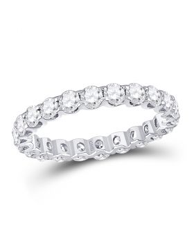 14kt White Gold Womens Round Diamond Single Row Eternity Band Ring 2.00 Cttw