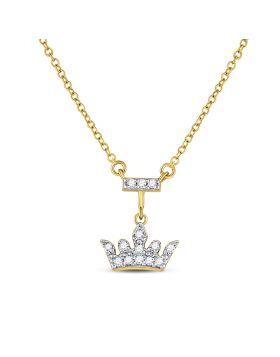 10kt Yellow Gold Womens Round Diamond Crown Tiara Fashion Necklace 1/20 Cttw