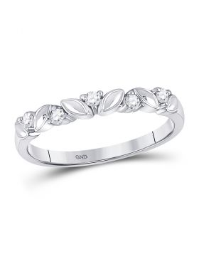 14kt White Gold Womens Round Diamond Floral Band Ring 1/10 Cttw
