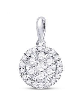 14kt White Gold Womens Round Diamond Circle Frame Flower Cluster Pendant 3/4 Cttw