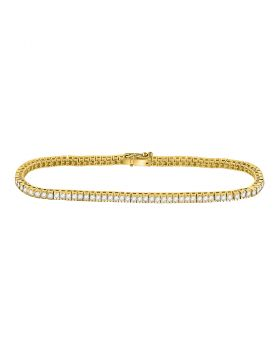 14kt Yellow Gold Womens Round Diamond Studded Tennis Bracelet 2.00 Cttw