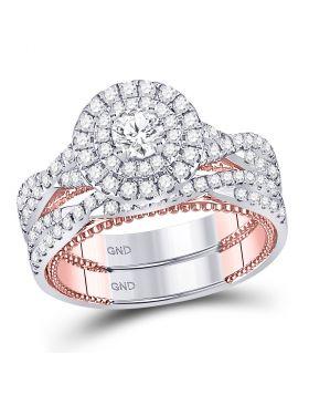 14kt Two-tone Gold Womens Round Diamond Bridal Wedding Engagement Ring Band Set 1-3/8 Cttw