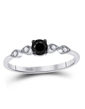 10kt White Gold Womens Round Black Color Enhanced Diamond Solitaire Bridal Wedding Engagement Ring 1/3 Cttw
