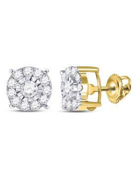 10kt Yellow Gold Womens Round Diamond Stud Earrings 1/2 Cttw