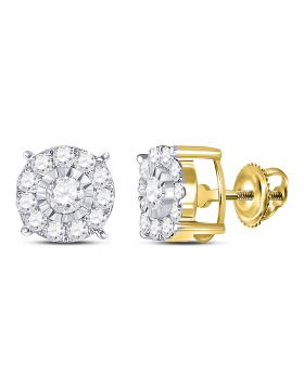 10kt Yellow Gold Womens Round Diamond Stud Earrings 5/8 Cttw