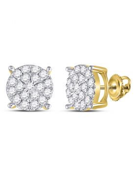 10kt Yellow Gold Womens Round Diamond Cluster Earrings 1.00 Cttw