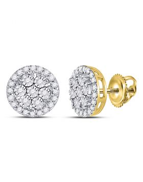 10kt Yellow Gold Womens Round Diamond Circle Frame Flower Cluster Earrings 3/8 Cttw