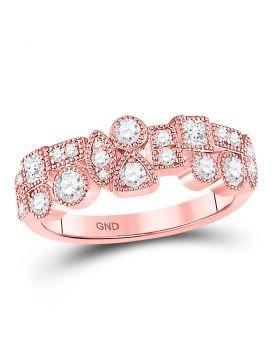10kt Rose Gold Womens Round Diamond Tear Dot Square Milgrain Band Ring 5/8 Cttw