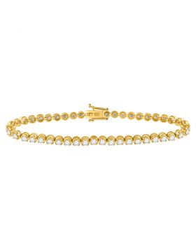 14kt Yellow Gold Womens Round Diamond Studded Tennis Bracelet 4.00 Cttw