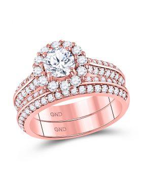 14kt Rose Gold Womens Round Diamond Bridal Wedding Engagement Ring Band Set 1-7/8 Cttw