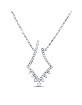 14kt White Gold Womens Round Diamond Fashion Necklace 1/4 Cttw