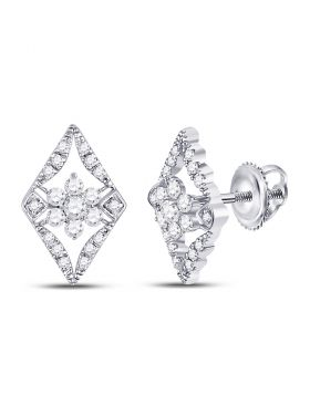 14kt White Gold Womens Round Diamond Cluster Earrings 3/8 Cttw