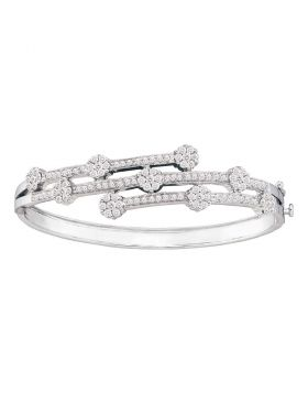 14kt White Gold Womens Round Diamond Flower Cluster Bangle Bracelet 2-1/2 Cttw