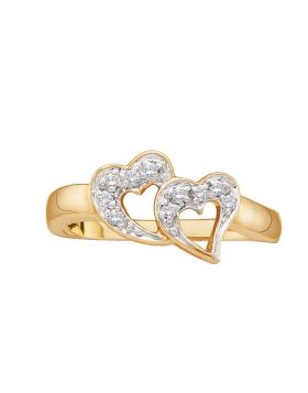 10kt Yellow Gold Womens Round Diamond Double Heart Ring 1/12 Cttw
