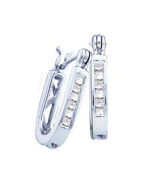 14kt White Gold Womens Princess Diamond Single Row Hoop Earrings 1/4 Cttw