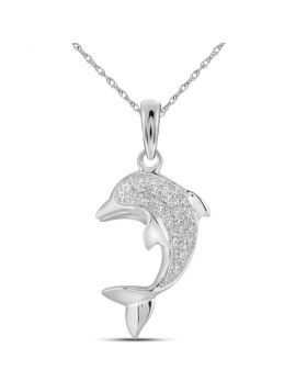 10kt White Gold Womens Round Diamond Dolphin Fish Animal Pendant 1/10 Cttw