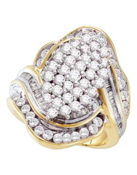 10kt Yellow Gold Womens Round Prong-set Diamond Oval Cluster Ring 1-3/4 Cttw