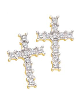 10kt Yellow Gold Womens Round Diamond Roman Cross Religious Stud Earrings 1/10 Cttw