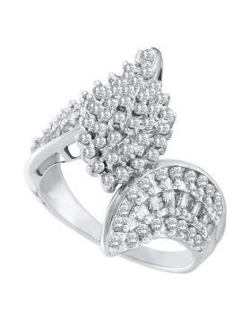 10kt White Gold Womens Round Prong-set Diamond Oval Cluster Bypass Ring 1.00 Cttw