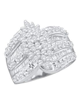 10kt White Gold Womens Round Diamond Oval-shape Cluster Ring 1.00 Cttw