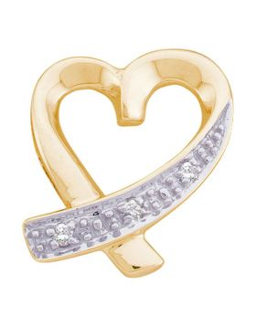 10kt Yellow Gold Womens Round Diamond Small Ribbon Heart Pendant .02 Cttw