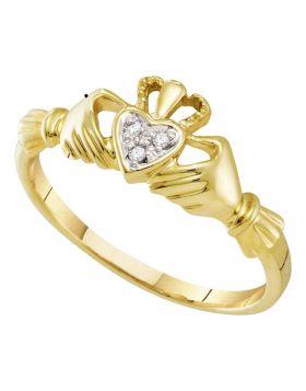 10kt Yellow Gold Womens Round Diamond Claddagh Heart Ring .02 Cttw