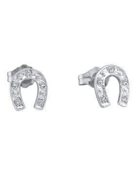 10kt White Gold Womens Round Diamond Horseshoe Stud Earrings 1/20 Cttw