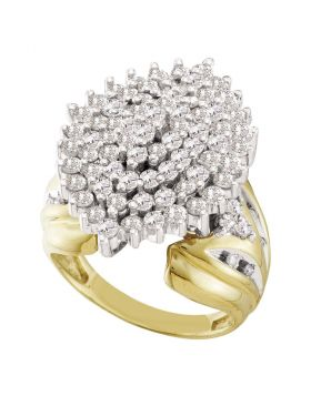 10kt Yellow Gold Womens Round Prong-set Diamond Large Oval Cluster Ring 2.00 Cttw