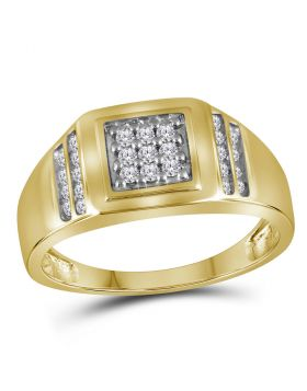 14KT YELLOW GOLD ROUND DIAMOND SQUARE CLUSTER RING 1/4 CTTW