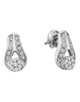 14kt White Gold Womens Round Diamond Flower Cluster Teardrop Earrings 1/4 Cttw