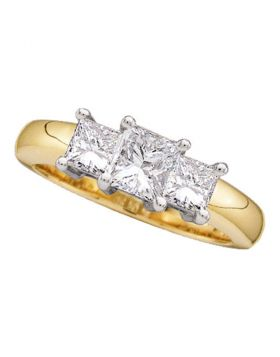 14kt Yellow Gold Womens Princess Diamond 3-stone Bridal Wedding Engagement Ring 3/4 Cttw