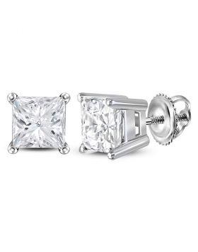 14kt White Gold Unisex Princess Diamond Solitaire Stud Earrings 1-3/8 Cttw