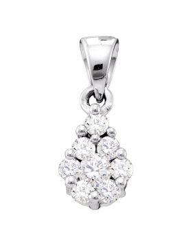 10kt White Gold Womens Round Diamond Flower Cluster Pendant 1/6 Cttw