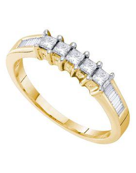 14k Yellow Gold Womens 5-stone Princess Diamond Bridal Wedding Engagement Anniversary Ring 1/2 Cttw