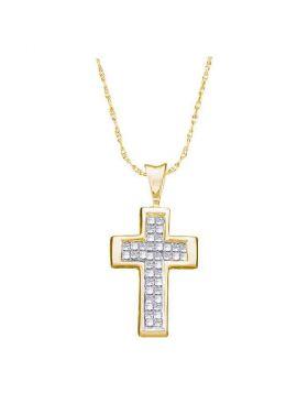 14kt Yellow Gold Womens Princess Diamond Cross Religious Pendant 1/4 Cttw