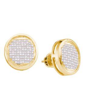 14kt Yellow Gold Womens Princess Diamond Circle Cluster Stud Earrings 1.00 Cttw