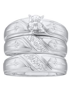 10kt White Gold His & Hers Round Diamond Solitaire Cross Matching Bridal Wedding Ring Band Set 1/6 Cttw
