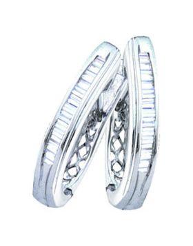 14kt White Gold Womens Baguette Diamond Hoop Earrings 1.00 Cttw
