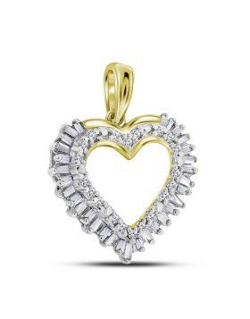 14kt Yellow Gold Womens Round Baguette Diamond Heart Frame Outline Pendant 1/4 Cttw