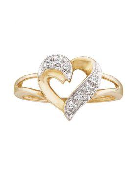 10kt Yellow Gold Womens Round Diamond Split-shank Heart Ring 1/20 Cttw